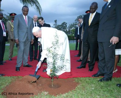 Pope Francis planting a tree 2